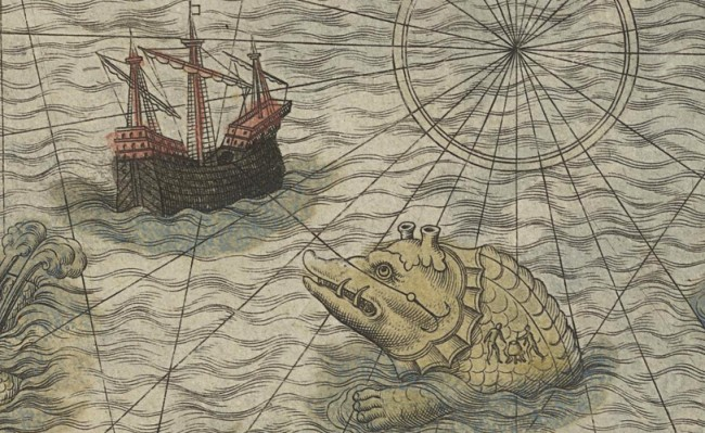 Fig. 67 Olaus Magnus 1572 hand colored National Library Sweden - whale island Brendan