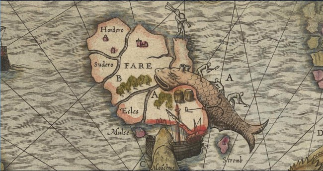 Fig. 68 Olaus Magnus 1572 hand colored National Library Sweden - whale flensing