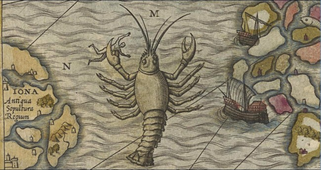 Fig. 73 Olaus Magnus 1572 hand colored National Library Sweden - octopus lobster dangers