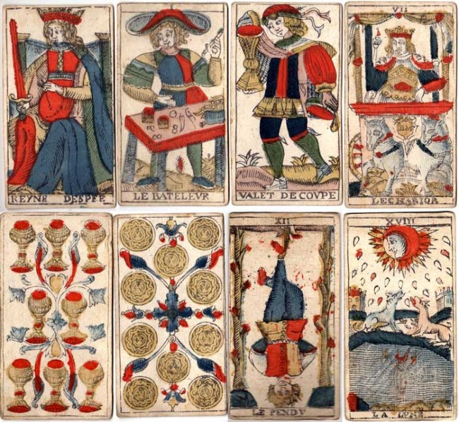 Tarot de Marseille by Jean-Baptiste Madenié, Dijon, early 18th century. The trump cards are named and numbered to designate their value during play. Images courtesy Frederic C. Detwiller.