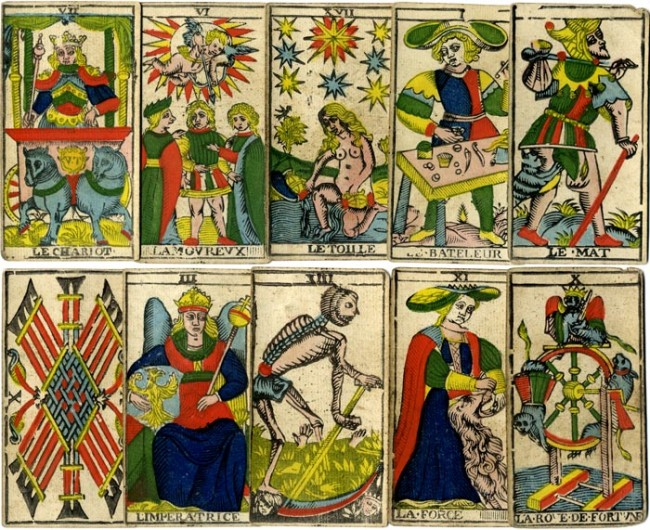 Tarot de Marseille by N. Conver, 1760 but probably a Camoin (Marseilles) edition of c.1870 from the original woodblocks. Stencil colouring.
