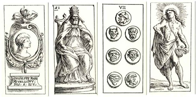 "the cards were also published as uncoloured prints in book form with the title ""Giuoco di carte, con nuova forma di Tarocchini, intaglio in Roma di Guiseppe Maria Mitelli..."". The Ace of Coins has a portrait medallion with the artist's name. Mitelli's fanciful designs are a break from the earlier hand-painted tarocchi cards produced in Italy, but there are several instances where the decorative designs on the numeral cards and some of the Trumps remind us of other, earlier, packs of tarocchi or ordinary playing cards. The Trumps are unnamed and unnumbered. Cards from the facsimile edition published by Edizioni del Solleone in 1977."