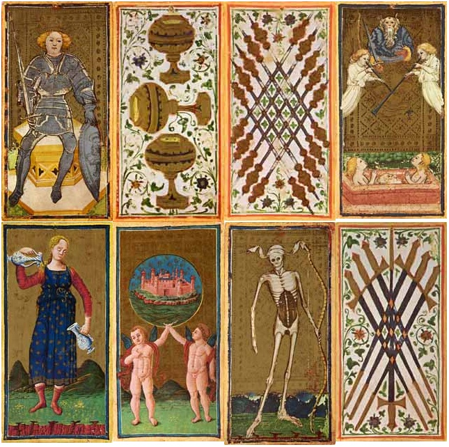 "8 cards from the replica pack ""I Tarocchi dei Visconti"" published by Dal Negro, Treviso, Italy. This is the most complete 15th Century Tarot deck. The original deck has 74 of the assumed original 78 cards, the missing cards are The Devil, The Tower, Three of Swords and Knight of Coins. These missing cards have been reconstructed in this edition."