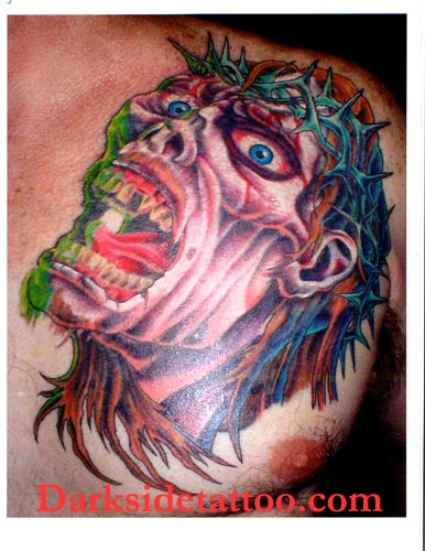 zombie-jesus-tattoo-on-back-of-shoulder