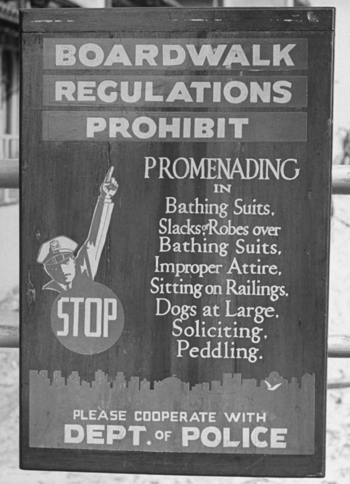 1941 Sign posted by police department stating regulations for beachgoers. Image: Alfred Eisenstaedt/Pix Inc./The LIFE Picture Collection/Getty Images