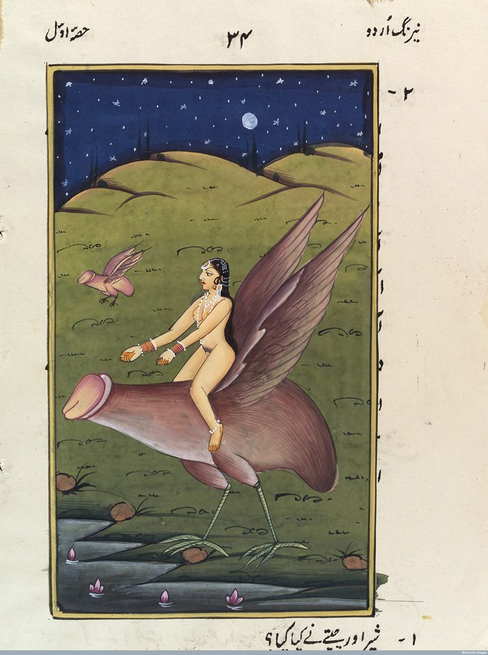 L0033078 A woman riding on an enormous winged penis. Gouache Credit: Wellcome Library, London. Wellcome Images images@wellcome.ac.uk http://wellcomeimages.org A woman riding on an enormous penis. Gouache 19th centruy Published: [18--?] Copyrighted work available under Creative Commons Attribution only licence CC BY 4.0 http://creativecommons.org/licenses/by/4.0/