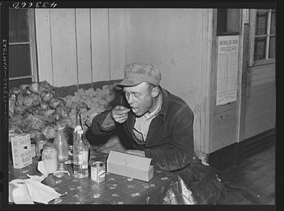 Worker from Fort Bragg having his dinner at a crossroads store in Manchester, North Carolina Creator(s): Delano, Jack, photographer Date Created/Published: 1941 Mar.