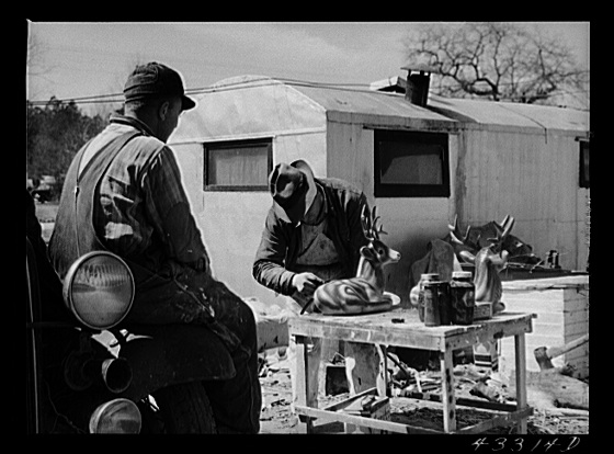 Spraying novelties to be sold along the roadside near Fort Bragg, North Carolina Creator(s): Delano, Jack, photographer Date Created/Published: 1941 Mar.