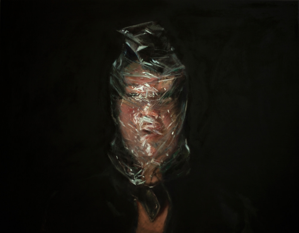 axel void u2019s unsettling paintings of subjects suffocating