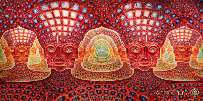 Net of Being, Alex Grey, 2002-2007, oil on linen, 180 x 90 in. http://alexgrey.com/art/paintings/soul/net-of-being/