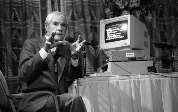 Dr. Timothy Leary next to a PC, which he called the LSD of the 1990s. Image: Esquire http://www.esquire.com/news-politics/news/a24830/timothy-leary-papers-released-to-public/