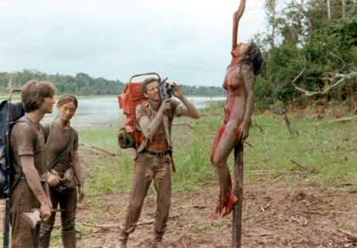 "The infamous impalement scene from Cannibal Holocaust had to be proven ""fake"" in court, screenshot by the author."