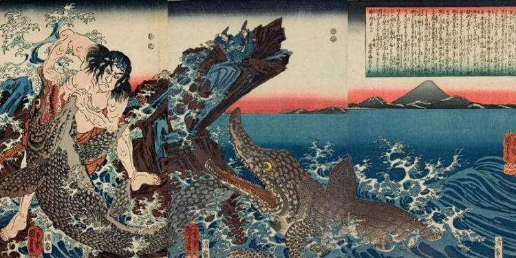 Title: Kamakura Shôgun Yori-ie-kyô Kotsubo-no-hama ni ryôsen to etc.  Description: Asahina Saburô Yoshihide struggling with two crocodiles on the seashore, watched by the Shôgun Yori-ie from a rock, with Mt. Fuji in the background