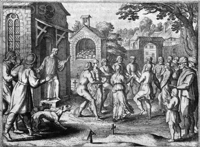 Original caption: Dancing mania sweeps through Europe during medieval plague. Penitents pray for mitigation of plague. Undated illustration. --- Image by © Corbis