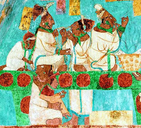 Mayan women perform bloodletting in an offering ritual.