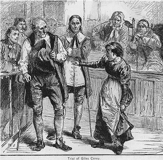 Ann Putnam testifying against Giles Corey in court during the Salem Witch Trails, 1692.