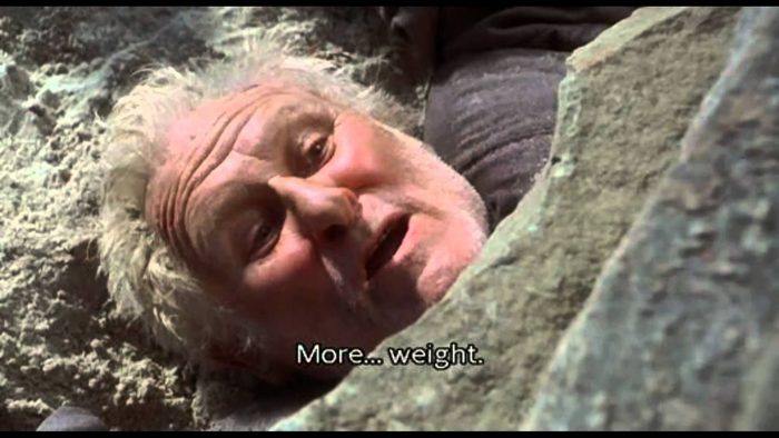 "Giles as played by Peter Vaughan in the film ""The Crucible"" in 1996."