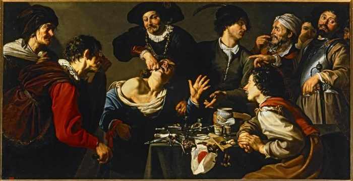 "Theodoor Romouts ""The Dentist""ca 1620-5 - look closely at the dentist's necklace."
