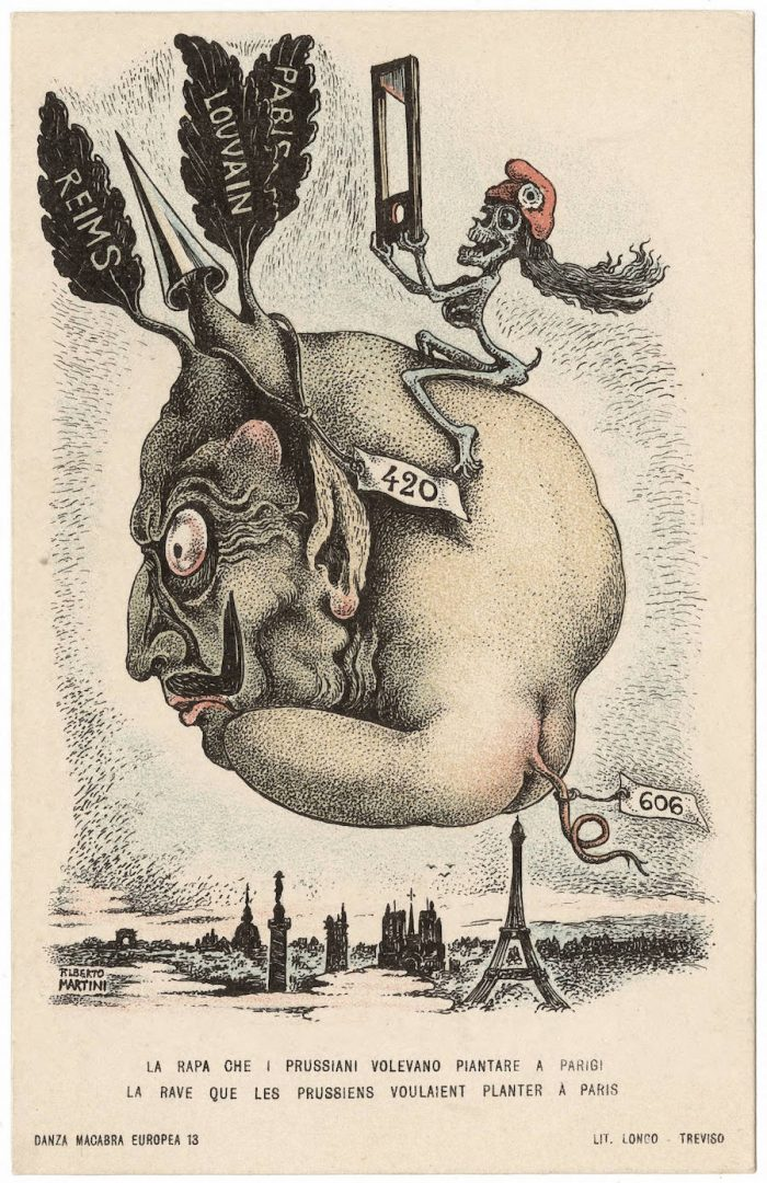 "German Kaiser Wilhelm II is portrayed as a turnip head in this card that explains "" The turnip that the Prussians wanted to plant in Paris "". Martini's caricature both highlights the crimes of the Germans as well promising retribution to the Kaiser. On the turnip's leaves are the names of the cities Luvain , Reims and Paris. The Germans gratuitously shelled and then put to the torch Luvain and Reims. There was little compelling military reason in Reims, and not in Luvain. Luvain had, in fact, been abandoned by the Belgian army. The destruction of these cities, considered gems of European medieval art and architecture proved to the Allies and the world, that the German claim to be ""cultured"" was false. No. 13 The names of Luvain and Reims came to be synonomous in Allied anti-German propaganda with ""barbarism"" and lack of civilization. The promise of retribution, by France, is symbolized by the smiling skeletal ""Death"" who wears the French revolutionary cap and holds up a guillotine."