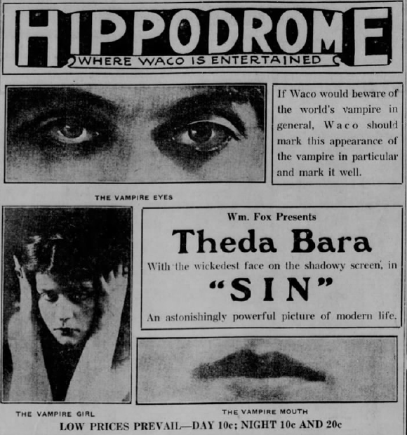 "Theda Bara in 1915's ""Sin"""