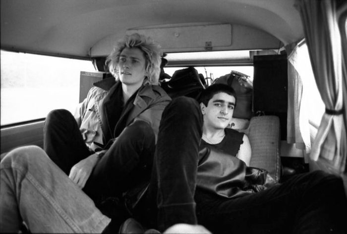 Killing Joke on the tour bus to Birmingham. Photo by Frank Jenkinson.