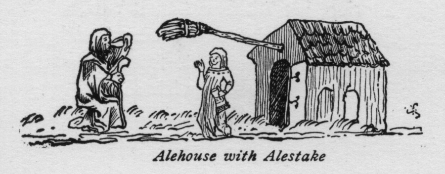 An alestake hung from the front of a house.
