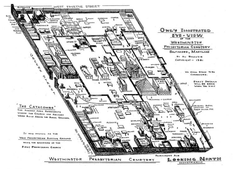 A map of Westminster Burial Ground. The footprint of the church catacombs is outlined in black.