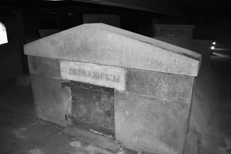 "Tomb marked, ""J Meredith"" in Westminster Hall's catacombs."