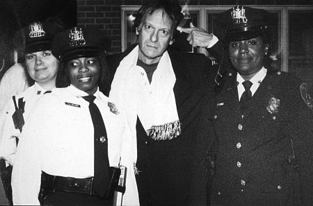 "David ""Footlong"" Franks with members of the Baltimore Police."