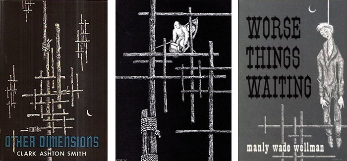 "Three illustrations showing Coye's lattice motif: (Left) cover of ""Other Dimensions"" by Clark Ashton Smith; (Center) an illustration for William Hope Hodgson's ""The Voice In the Night""; (Right) the cover of Manly Wade Wellman's ""Worse Things Waiting""."