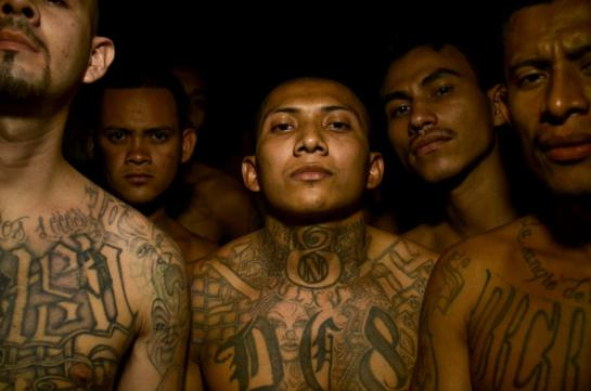 Incarcerated members of the Mara 18 gang inside the Izalco prison in Sonsonate, El Salvador.