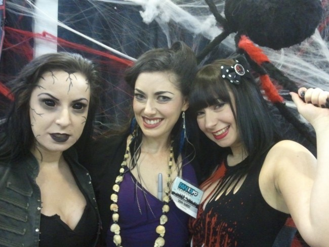 "Soska Twins (L: Jen, as ""Evil Willow"", and R: Sylvia) and C: Tristan Risk"