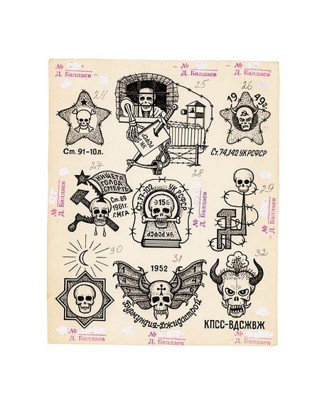 Various tattoos depicting skulls. Top row left to right'Art[icles] 91-10 L [Leningrad]'. 'Criminal Code of the RSFSR' '1949. Art[icles] 74, 142 of the Criminal Code of the RSFSR'. Middle row left to right 'Poverty, Hunger, Death. Art[icle] 89. 1961. MGA'. 'Art[icle] 77, 102 Criminal Code of the RSFSR. 15 [years]'. Bottom row left to right '1952. Art[icles] 74, 142 Burmundia – Dzhidastroi 135-146'.'KPSS–VDSZhVZh'