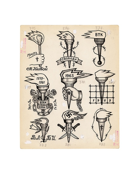 Various criminal tattoos depicting torches – a symbol of freedom. Top left: '1947. St. Kitoy' Corrective Labour Colony No.9. 1981. Shoulder.An old thieves' tattoo of the 1940s and 1950s specifying the place of imprisonment - Kitoy station, near Irkutsk. Top middle: 'Freedom' Top right: 'VTK' [Educational Corrective Labour Camp.] Middle left: '1979-1981. ASP, AIS'. The shackles read 'BTK, ITK-9'. A prisoner brought up in an Educational Labour Colony (1978-1981, VTK). Aged 18 they were transferred to the adult Correctional Labour Colony (ITK-9). Their initials are either side of the manacles. Bottom right: A thieves tattoo showing the term – seven years.