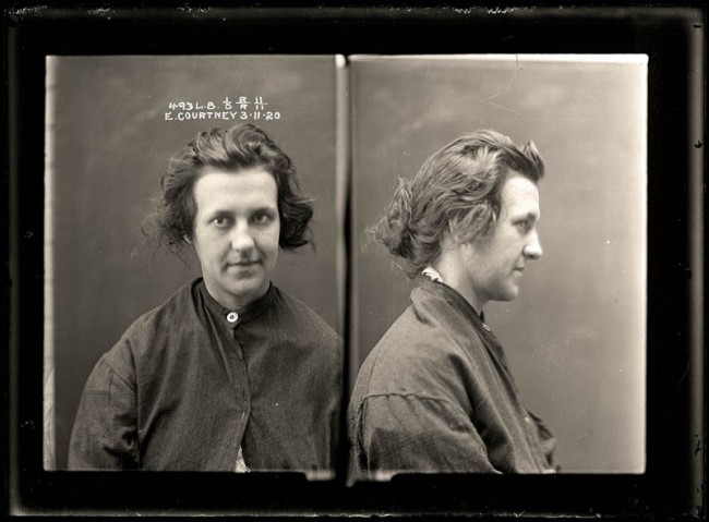 Evelyn Courtney, 3 November 1920 Evelyn Courtney stole a remarkable array of items, ranging from an umbrella to Irish linen napkins. She was a suspect in at least seven different robberies during 1920. Aged 19.