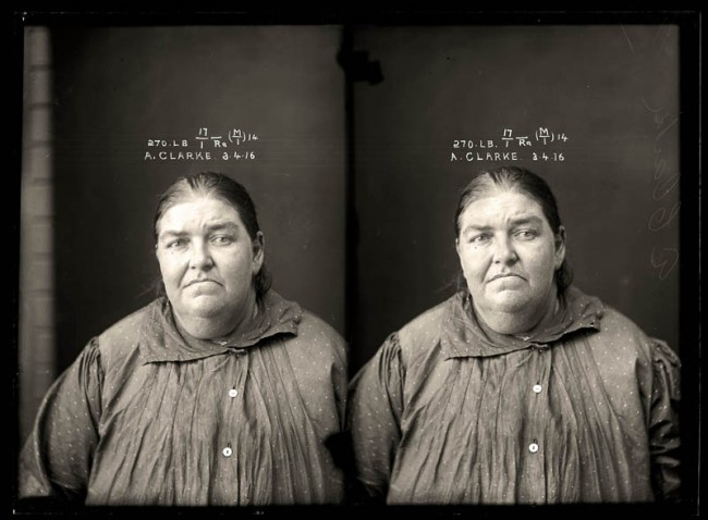"""Alice Clarke, 3 April 1916 Convicted of selling liquor without a licence. Alice Clarke was an entrepreneur who took advantage of restrictive liquor regulations, which forced pubs to close at 6pm. As a """"sly grogger"""" she sold high-priced alcohol from a private residence. Clarke's arrest came only weeks after the legislation was introduced. Aged 42."""