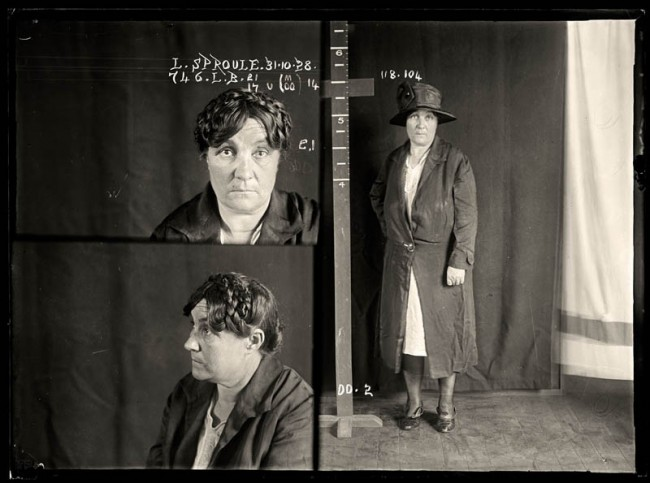 Lillian Sproule, 31 October 1928 Tasmanian Lillian Sproule became involved in Sydney's cocaine trade. She was labelled a 'parasite in skirts' by the newspapers and had multiple convictions relating to drug dealing. She was sentenced to six months in prison. DOB: 1878.