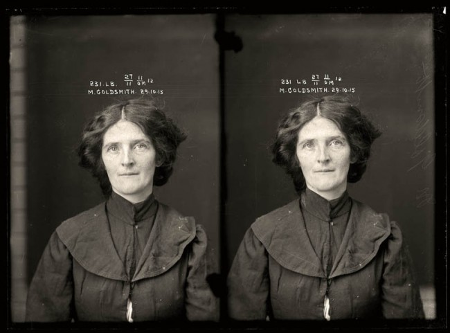 Muriel Goldsmith, 29 October 1915 Convicted of stealing. Muriel Goldsmith looks like a country schoolteacher but was actually a prolific thief with a string of aliases. She was found guilty of stealing money and jewellery from the Criterion Hotel in Wagga Wagga, New South Wales. Aged 25.