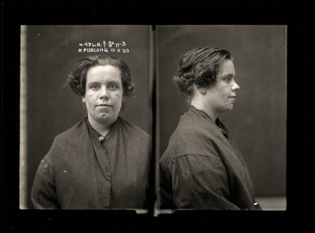 Ruby Furlong, 15 November 1920 Petty thief Ruby Furlong was involved in an altercation with a drunk musician at Newtown. She pulled out a razor and slashed his face, leaving an ugly scar. Furlong was a feared criminal who had a string of convictions in the early 1920s. Ruby, aged 34, was serving time for malicious wounding when this photograph was taken.