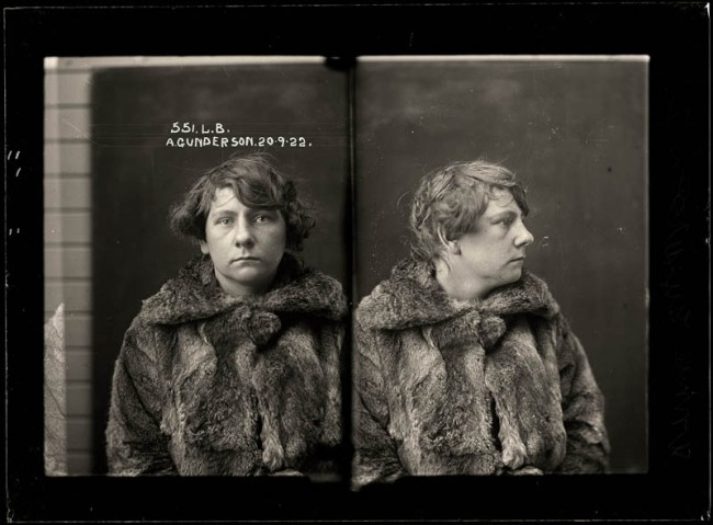 Annie Gunderson, 20 September 1922 Charged with stealing a fur coat. Teenager Annie Gunderson was charged with stealing a fur coat from a Sydney department store called Winn's Limited, in 1922. Police records do not indicate whether the fur she is wearing is the stolen item. Aged 19.