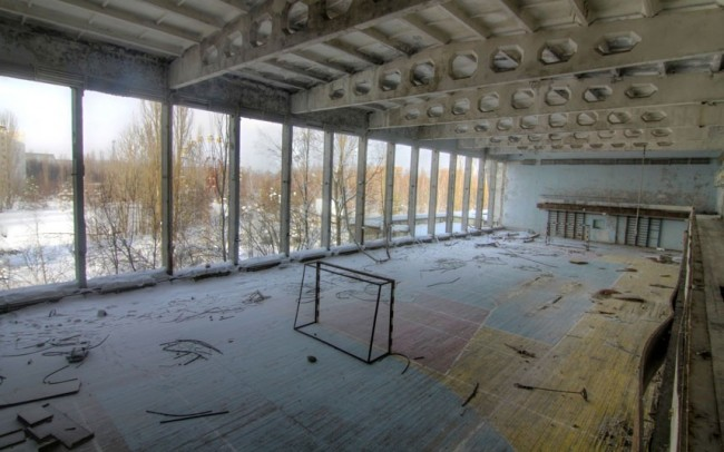 An abandoned sports hall near the Soviet Palace of Culture