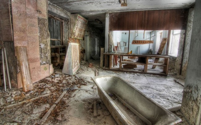 The front desk at the abandoned Hotel Pripyat