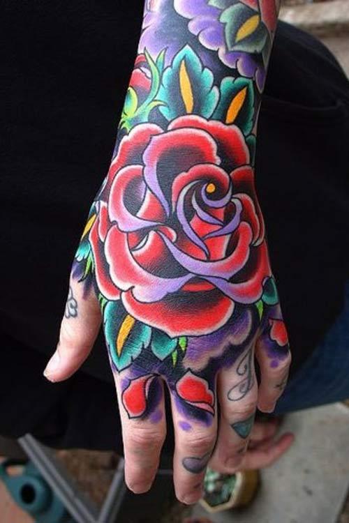 color-ink-red-rose-flower-left-hand-tattoo