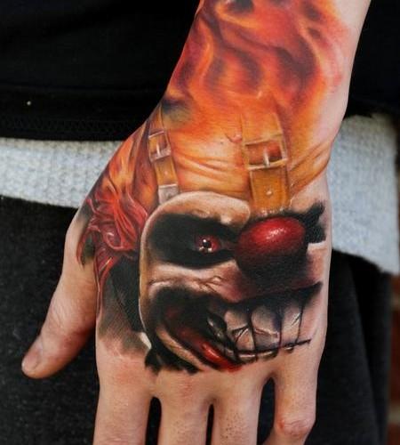 scary-clown-hand-tattoo
