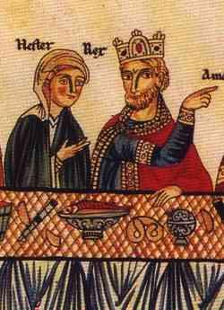 Hortus-deliciarum-Esther-and-Ahashuerus-at-a-banquet