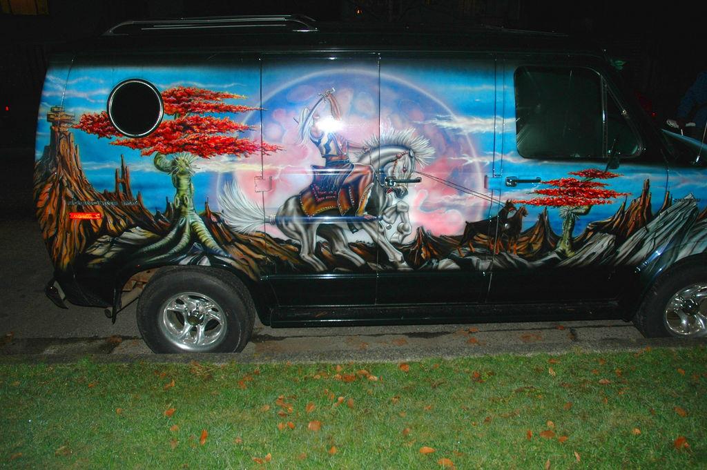 Magic carpet ride 70 39 s airbrushed vans for Airbrush car mural