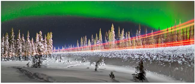 Night Trucking under an Arctic Aurora