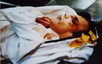 Photo on display. Morgue photo of Jeffrey Dahmer at Rare Serial Kiler Exhibit at 107 Suffolk St., NYC.