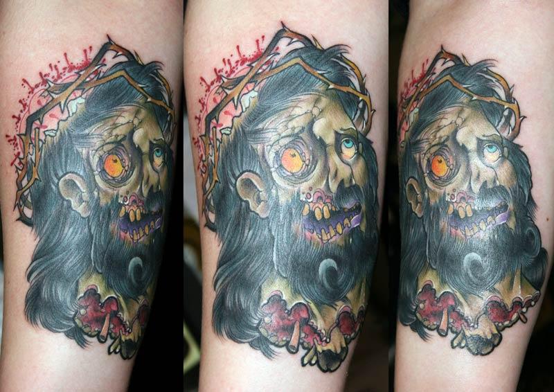 eat my flesh zombie jesus tattoos. Black Bedroom Furniture Sets. Home Design Ideas