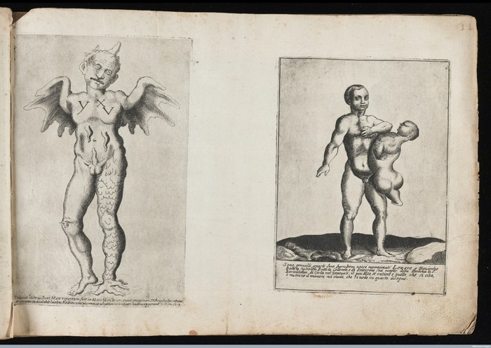 L0041575 Monster and Siamese twins Credit: Wellcome Library, London. Wellcome Images images@wellcome.ac.uk http://wellcomeimages.org (Left) A monstorous figure, with a scaly leg, wings instead of arms, and a horn on his head. (Right) Siamese twins. One of the twins is not fully developed and is fully supported by the other. 1585 By: Giovanni Battista CavalieriMonsters; biblical, historical, and moral subjects; landscapes; allegories. Album of engravings, ca. 1585-1612 Published: 1585. Copyrighted work available under Creative Commons Attribution only licence CC BY 4.0 http://creativecommons.org/licenses/by/4.0/